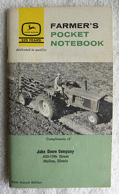 1962-63 John Deere Co., Moline, Illinois IL, JD Farmers Pocket Ledger Notebook
