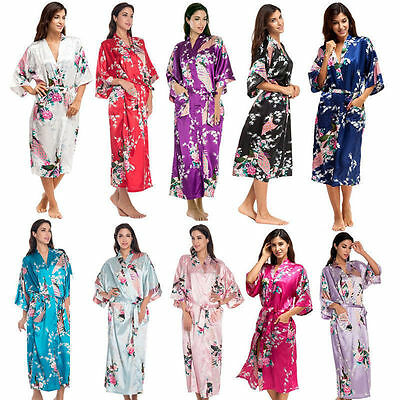 Silk Satin Kimono Bath Robe Dressing Gown Wedding Bridesmaid Sleepwear Bathrobe
