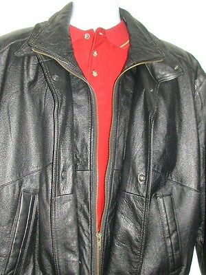 CHARLES KLEIN Men's XL Black LEATHER MOTORCYCLE/BOMBER JACKET Zip/Snap Front EUC