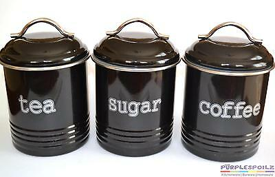 TEA COFFEE SUGAR CANISTER SET OF 3 Retro Decor Cannisters Large 1 Litre Utensil