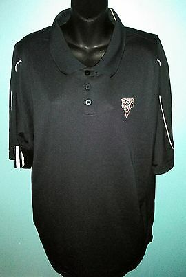 New Adidas Men's XL Climalite Golf Polo Short Black Sleeve Athletic Polyester