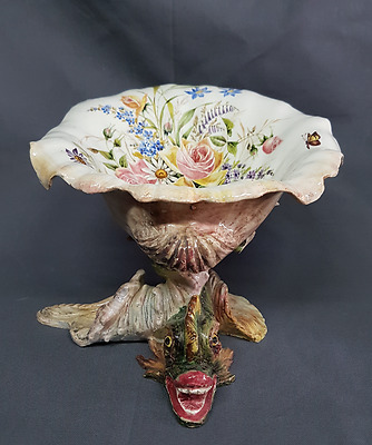 Coupe Faience Nove Di Bassano Dauphins & Coquillage Polychromes