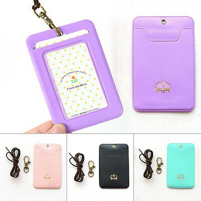 Lovely Candy Color PU Necklace Bus IC ID Credit Card Skin Cover Holder Bag 1Pcs
