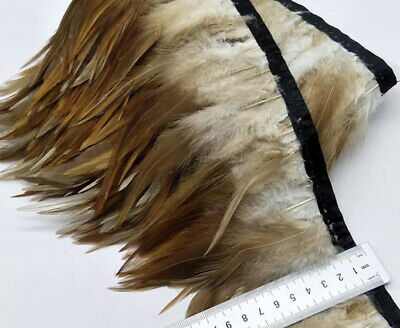 Natural Tan Brown Rooster Feather Fringe Ribbon Trim (price for 30cm) DIY Craft