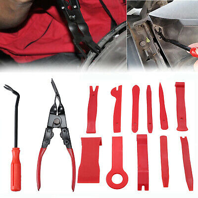 13x CAR DOOR PANEL TRIM CLIP REMOVAL PLIER & UPHOLSTERY REMOVER PRY BAR TOOL SET