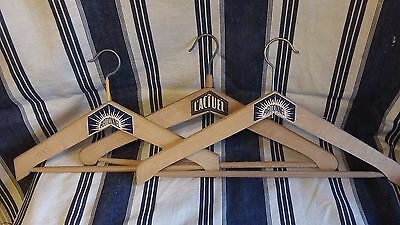 Collection of 3 Vintage French Wood Coat hangers with labels C 1950's