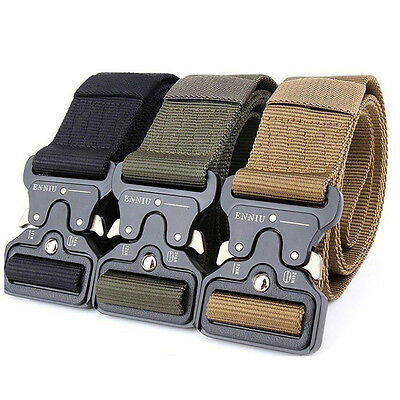KD_ Cool Men Outdoor Hiking Sports Waistband Army Military Nylon Buckle Belt E