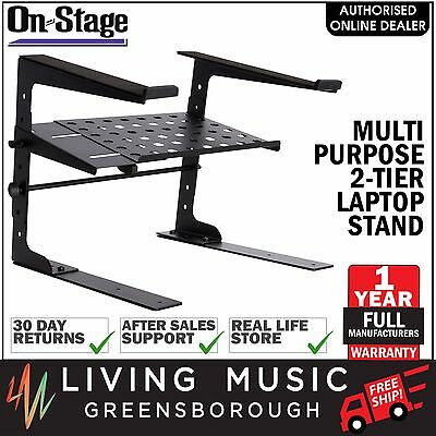 NEW On-Stage Stands Deluxe 2 Tier Multipurpose Laptop Stand Mount with Shelf