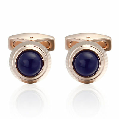 Cufflinks Gemelli cartier style ballon bleu blue Gemelos Gift plated rose gold