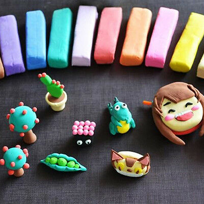 12X Colorful Soft Polymer Plasticine Fimo Effect Clay Blocks DIY Educational For