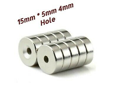 10 PCs 15mm x 5mm Strong Magnets  Countersunk Ring Hole 5mm Rare Earth Neodymium