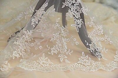 Vintage Embroidery Bridal Dress DIY Fabric Gold Corded Gown Lace Fabric 0.5 Y