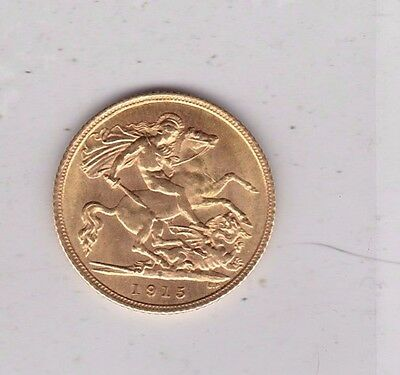 1915S Gold Half Sovereign In Near Mint Condition