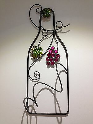 "Wrought Iron Wine rack ""Vine"" WALL DISPLAY BOTTLE HOLDER"