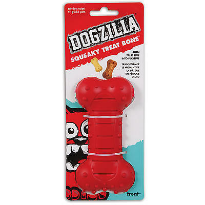 Petmate Dogzilla Squeaky Treat Bone Chew Toy Medium Turn Treat-Time to Play-Time