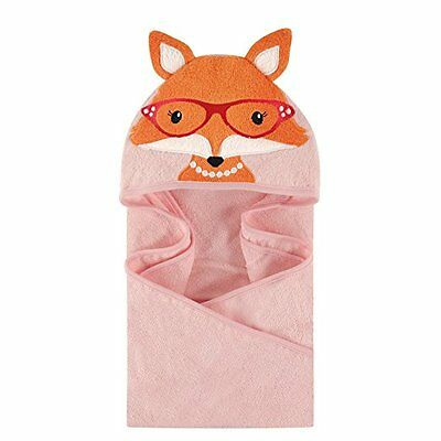 Hudson Baby Animal Face Hooded Towel for Baby Girls Pink Mrs Fox