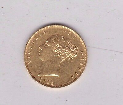 1865 Young Head Victoria Shield Back Gold Half Sovereign In Good Extremely Fine