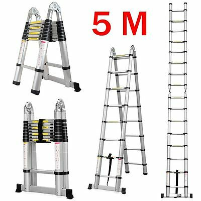 Telescoping Aluminum Ladder Extension Portable 5M Folding Frame Ladder Giant NEW