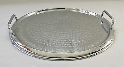 Vintage C1960's Round Ranleigh Stainless Drinks Serving Tray