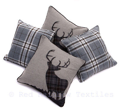 Set of 4 Tartan Stag & Tartan Check Grey Collection 18 inch Cushion Covers
