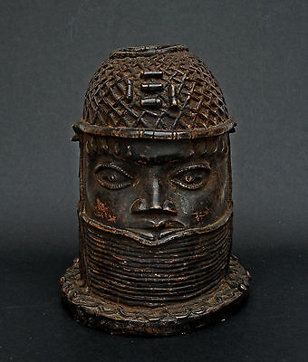 Antique African Benin Bronze Head Oba - Private Collection South Of France