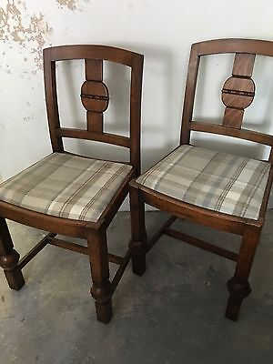 Wooden Dining Chairs With Grey Cream Blue Check Wool Upholstered Seat Vintage