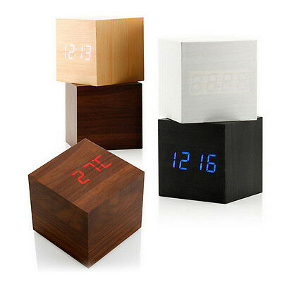 Modern Cube Wooden Digital LED Desk Voice Control Alarm Clock Thermometer FO