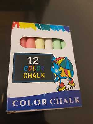Non Toxic Chalk 12 Coloured Sticks - Make Fun for kids - Free Shipping -