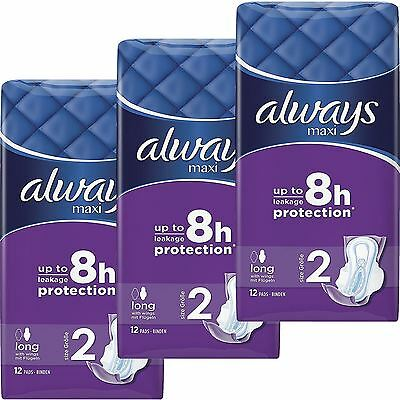 Always Maxi Sanitary Towels Pads Long Plus Wings Comfort & Protection Pack of 36