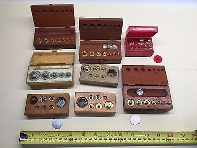 Nice lot of 8 vintage Calibration Weight Sets Ohaus Homs