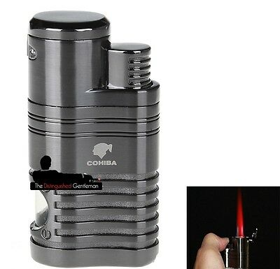 Cohiba Premium Titanium 4 Jet Flame Cigar Lighter With Built-In Punch Cutter