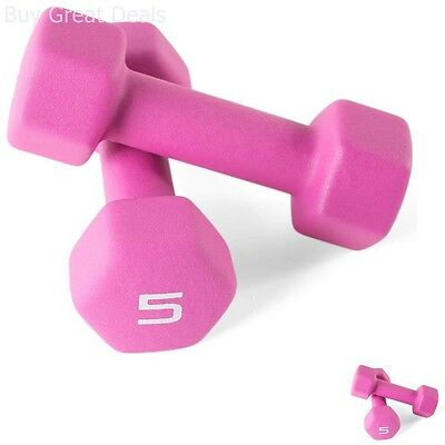 5 Lb Neoprene Coated Dumbbells Hand Weight Cast Iron Coated Fitness Pink Pair