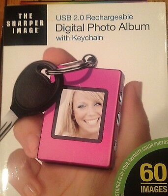 The Sharper Image Digital Picture Keychain USB 2.0 Rechargeable-New in Package