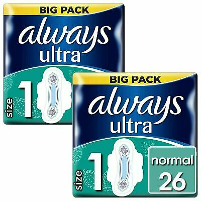 Always Ultra Normal Sanitary Towels Pads Size 1 Wings Women Absorbent Pack of 52