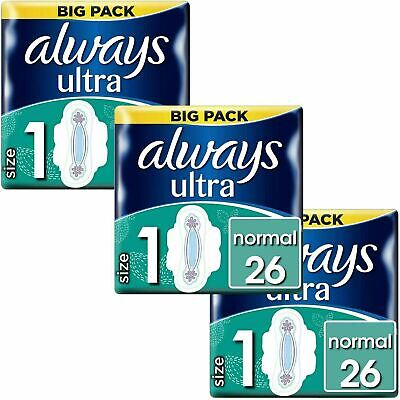Always Ultra Normal Sanitary Towels Pads Size 1 Wings Women Absorbent Pack of 78