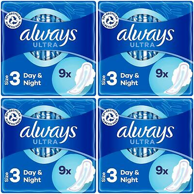 Always Ultra Night Sanitary Towels Pads Wings Womens Super Absorbent Pack of 40