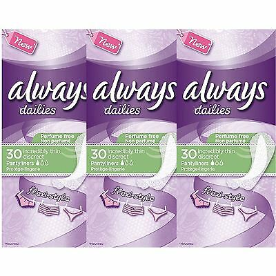 Always Dailies Womens Panty Liners Incredibly Thin Discreet Flexi Style, 90 Pack