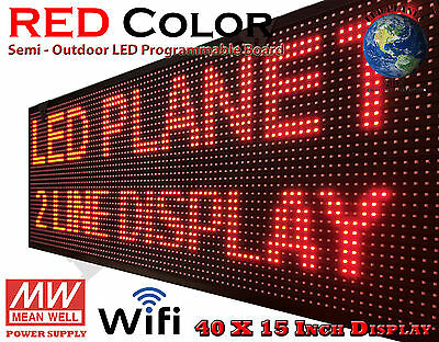 """RED Color - 40""""x15"""" Semi Outdoor Indoor WIFI LED Scrolling & Programmable Sign"""