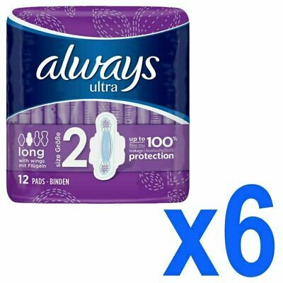 Always Ultra Long Sanitary Towels Pads Size 2 Womens Super Absorbent Pack of 72