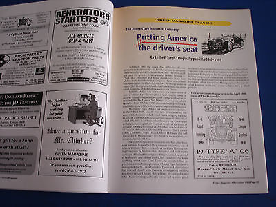 JOHN DEERE GREEN MAGAZINE ALL FUEL TRACTORS; Deere-Clark Motor Car Co.  Nov 2002
