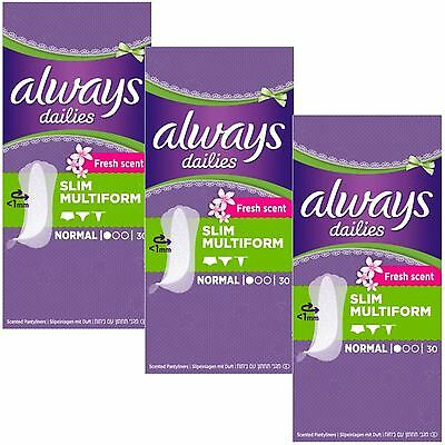 Always Dailies Panty Liners Normal Slim Flexi Style Scented Multiform - 90 Pack
