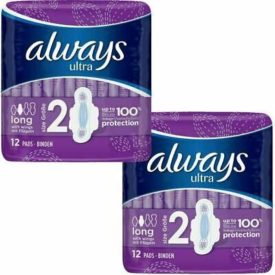 Always Ultra Long Sanitary Towels Pads Size 2 Womens Super Absorbent Pack of 24