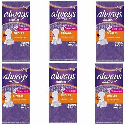 Always Dailies Panty Liners Normal Fresh Scent Individually Wrapped - 120 Pack