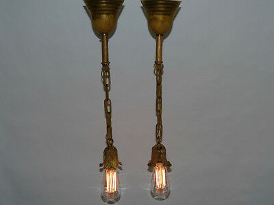 Antique Pair of Brass Acanthus Leaf Pendant Lights