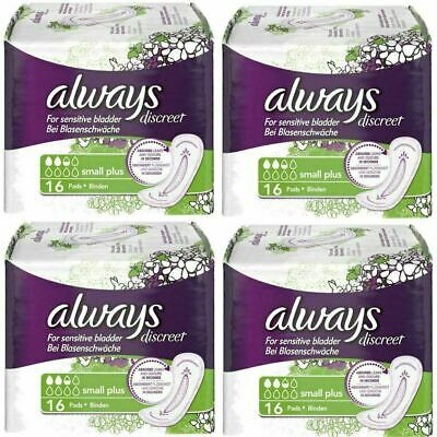 Always Discreet Sensitive Bladder Incontinence Pads Liners Small Plus - 64 Pack
