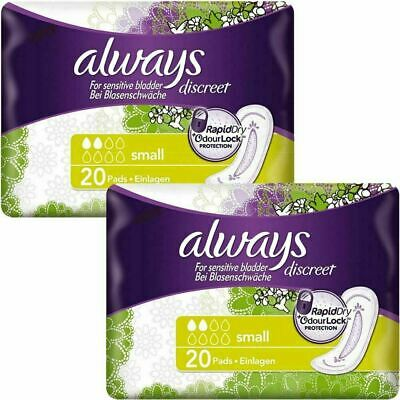 Always Discreet Sensitive Bladder Incontinence Pads Small Odour Lock - 40 Pack