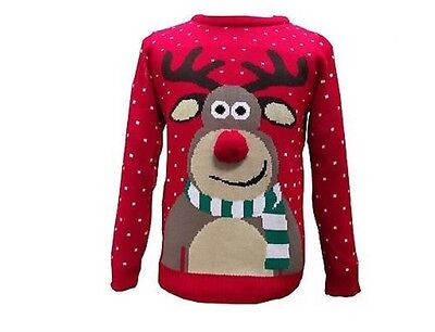 1 New Womens Men Unisex Reindeer Pom Pom 3D Nose Snowflakes Christmas Jumper Top