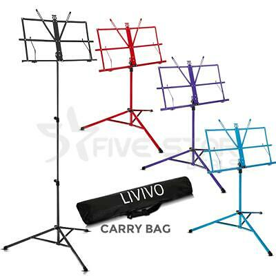 Adjustable Height Tripod Music Book Stand Sheet Holder Base Foldable W Carry Bag