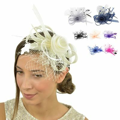 Wedding Races Party Prom Flower Fascinator with Veil Net Hat On Clip & Headband