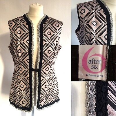 Vintage 60s Roland Joyce After Six Silver Black Waistcoat Disco Party Size 12